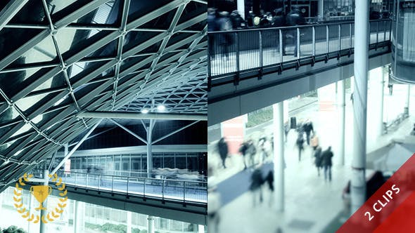 Thumbnail for People Walking in Futuristic Architecture