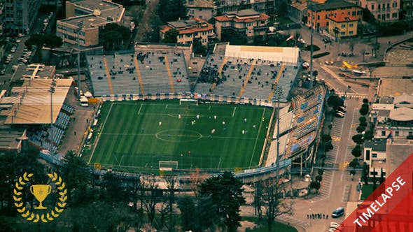 Thumbnail for Soccer Match at the Stadium from Above