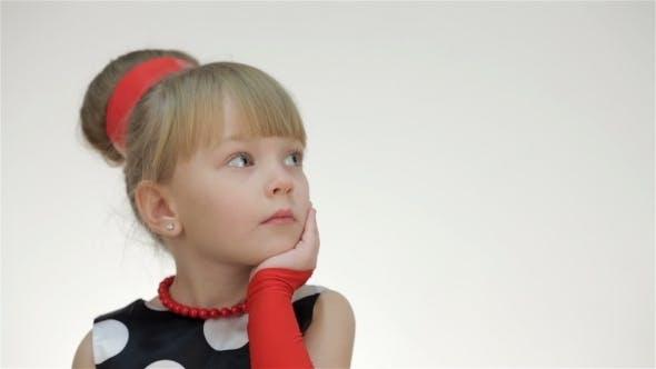 Kid Girl Looking At Copy Space