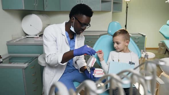 Thumbnail for African Young Dentist Teaching Little Boy How to Brush Teeth on the Plastic Model