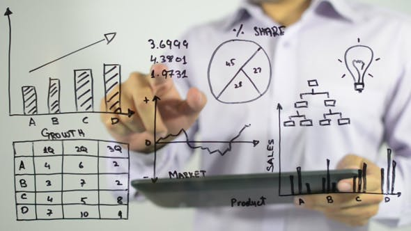 Thumbnail for Analyzing Business Chart Illustration,Tablet PC