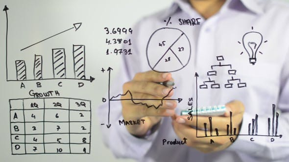 Thumbnail for Man Working on Business Charts and Graphs, Writing