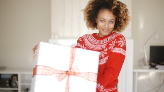 Thumbnail for Sexy African American Woman With Christmas Gift