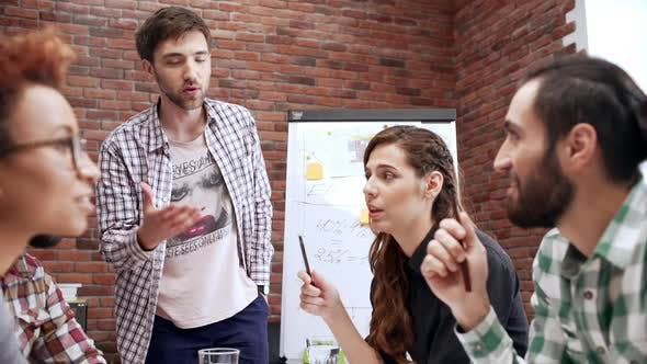 Slow Motion Annoyed Employer Team Leader Scolding Employee Coworker Drop Pen on Table Talking to