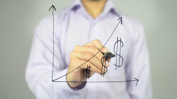 Cover Image for Business Growth Graph on Transparent Screen