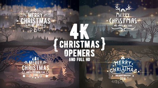 Thumbnail for 4K Christmas Openers/ 3D Winter Tales/ Snow Falling/ Merry Christmas Happy New Year/ Nativity/ Cute