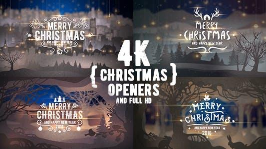 Thumbnail for 4 K Abridor de Navidad/ 3D Cuentos de invierno/ Nieve Falling/ Feliz Navidad Año Nuevo/Natividad Lindo