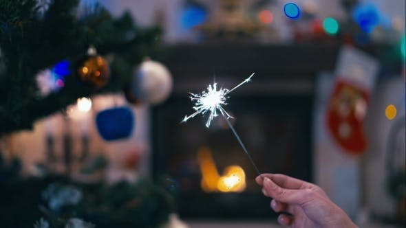 Thumbnail for Sparklers On The Background Of Christmas Tree