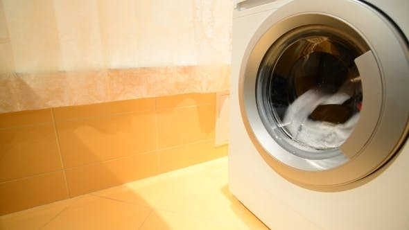 Thumbnail for Black And White Laundry Is Washed In  Washing