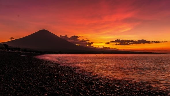 Thumbnail for Sunset On The Ocean And The Volcano Gunung Agung