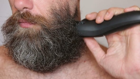 Thumbnail for Shirtless Man Shaving With Electric Razor