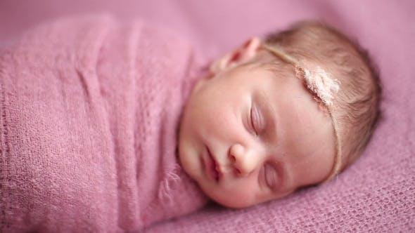 Thumbnail for Cute Newborn Baby Girl Sleeping