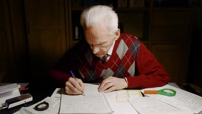 Grandfather Writing Letter