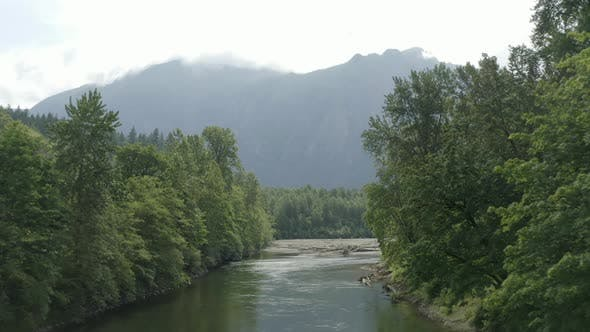 Thumbnail for Snoqualmie River Valley View of Mount Si - Aerial Drone Birds Eye View Cloudy Summer Day