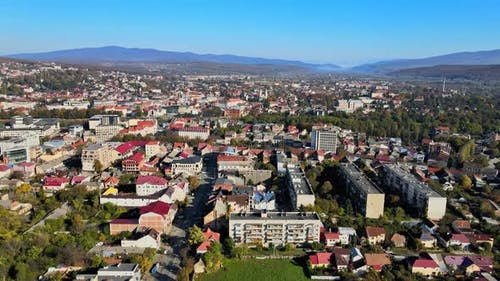 Aerial View of the Historic City Uzhgorod Located in Transcarpathia Old Buildings in the Panorama
