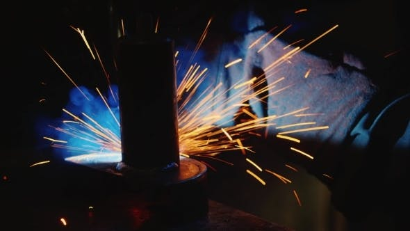 Thumbnail for Electric Welder At Work. Lots Of Hot Sparks