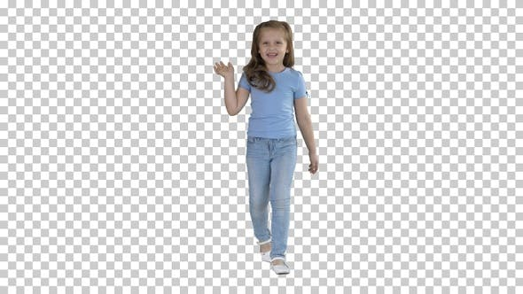 Thumbnail for Cheerful girl greating and waving her hand while walking Alpha