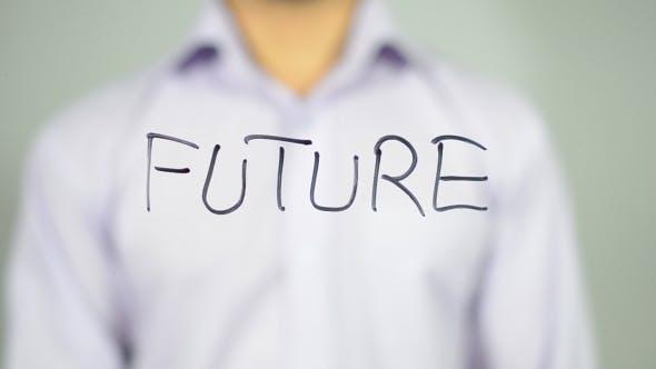 Thumbnail for Zukunft, Mann schreiben auf transparentem Bildschirm