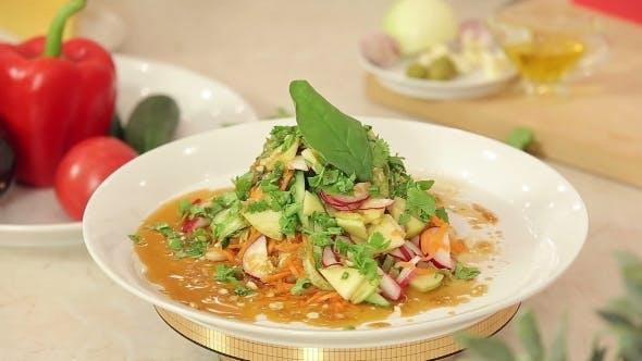 Thumbnail for Presentation Of Freshly Cut Vegetable Salad