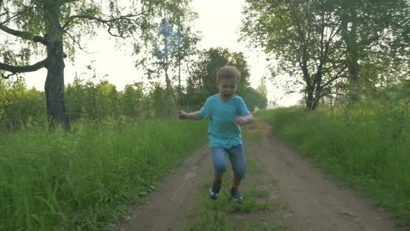 Thumbnail for Boy Running With Scoop-Net