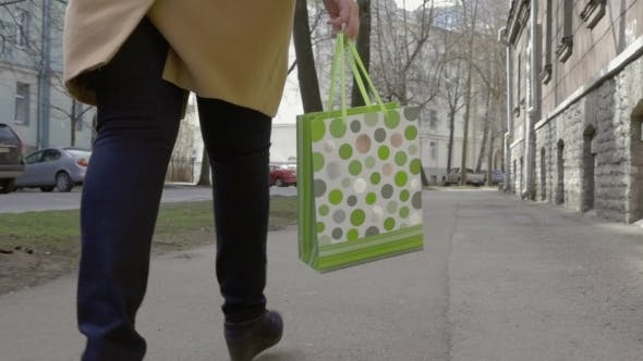 Thumbnail for Woman Legs Walking With Colorful Shopping Bag