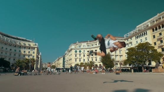 He Doing His Best In Acrobatics