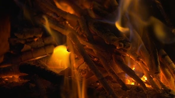 Thumbnail for Wooden Sticks On Fire And Ash In The Fireplace
