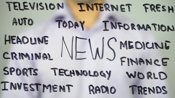 Thumbnail for News, Writing on Transparent Screen