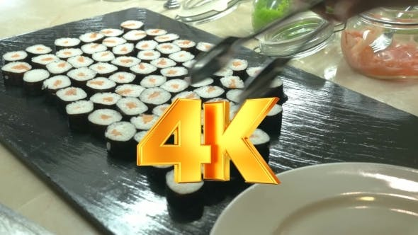 Thumbnail for Sushi Rolls Served On Plate In Japanese Restaurant