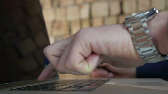 Businessman Online Order Using Laptop