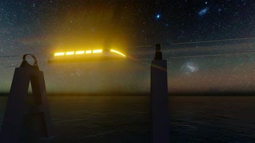 Maglev Hyperloop Night Futuristic Tunnel