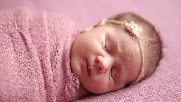 Thumbnail for Cute Newborn Baby Girl Sleeping