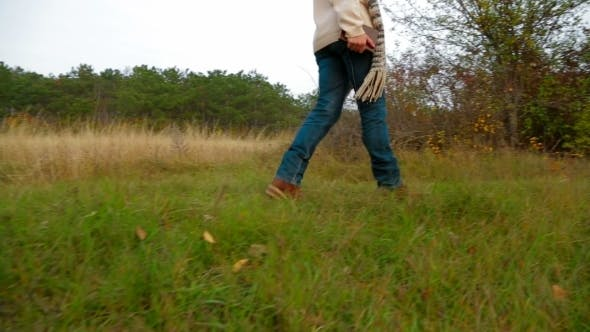 Thumbnail for Young Woman Walking At Nature In Autumn