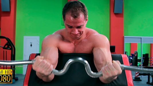 Thumbnail for Athletes Train Biceps Sitting on the Bench