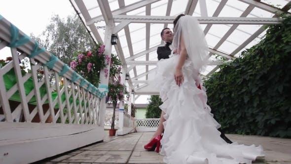 Thumbnail for Bräutigam hält seine Braut in seinen Armen.