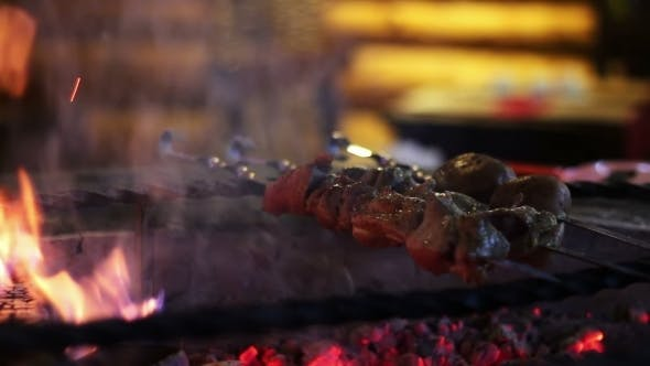 Thumbnail for Kebab Prepared On The Grill In The Restaurant.