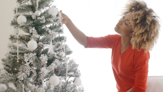 Thumbnail for Attractive African Woman Decorating The Xmas Tree