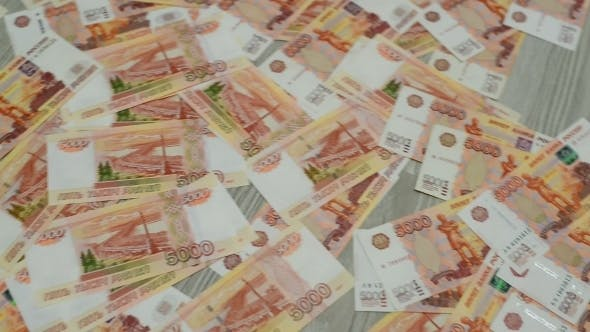 Thumbnail for Many Russian Money Lying On  Floor