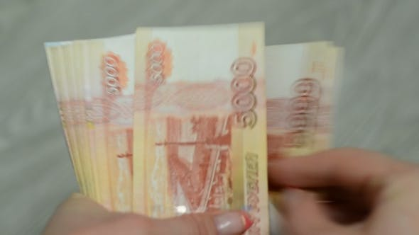 Thumbnail for Women Hands Counting Russian Banknotes.
