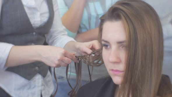 Thumbnail for Stylist Hairdresser is Weaving the Braids Making