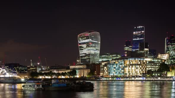 london city  skyline financial business skyscrapers night