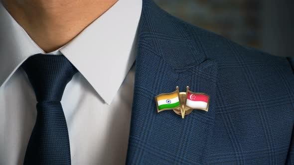 Thumbnail for Businessman Friend Flags Pin India Singapore