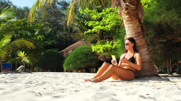 Thumbnail for Pretty Happy Ladies Traveling by The Sea on Beach on Paradise White Sand and Blue