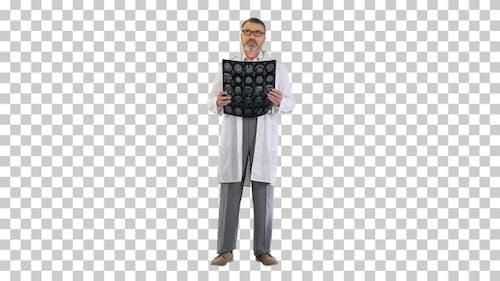 Senior Medical Doctor Looking At Mri, Alpha Channel