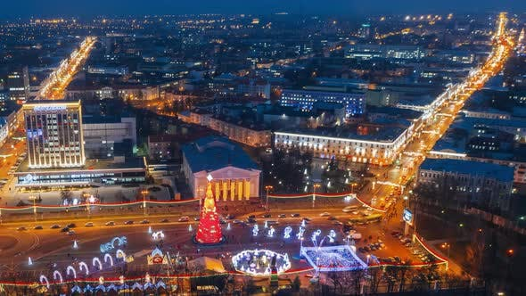 Gomel, Belarus. Main Christmas Tree And Festive Illumination On Lenin Square In Homel. New Year In