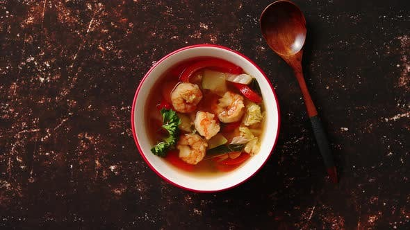 Thumbnail for Traditional Tom Yum Spicy Thai Soup with Shrimp