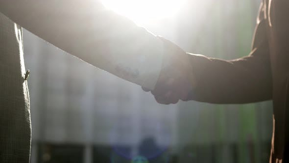 Thumbnail for Business Handshake Against Sunset Sunshine