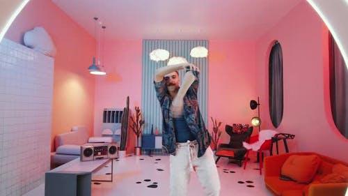 Young Man Dancing Vogue in Trendy Studio