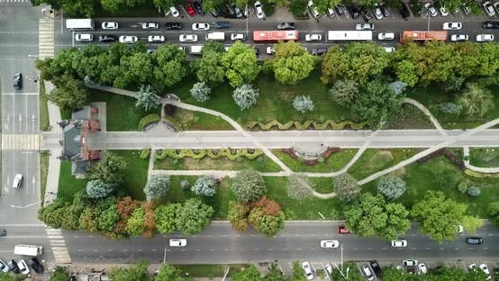 Thumbnail for Aerial Top Down View of Traffic Jam on a Car Road and Park