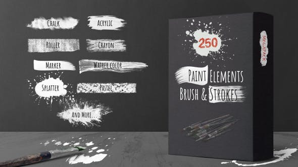 Thumbnail for 250 Paint Matte Elements, Brush & Strokes